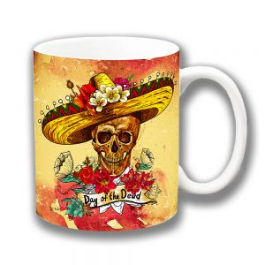 Day of the Dead Coffee Mug Skull Sombrero Flowers