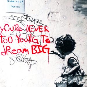 Banksy Art Cushion or Cushion Cover Never too Young to Dream Big