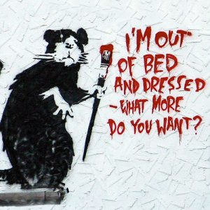 Banksy Graffiti Art Cushion or Cushion Cover I'm Out of Bed Dressed