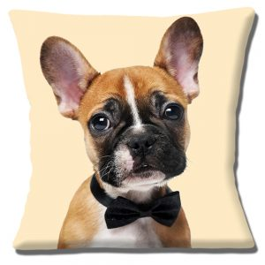 French Bulldog Cushion or Cushion Cover Fawn Dog Bow Tie