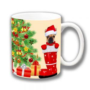 Fawn French Bulldog Coffee Mug Christmas Tree Santa Hat