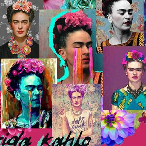Frida Kahlo Cushion or Cushion Cover Mexican Folklore Artist Magenta