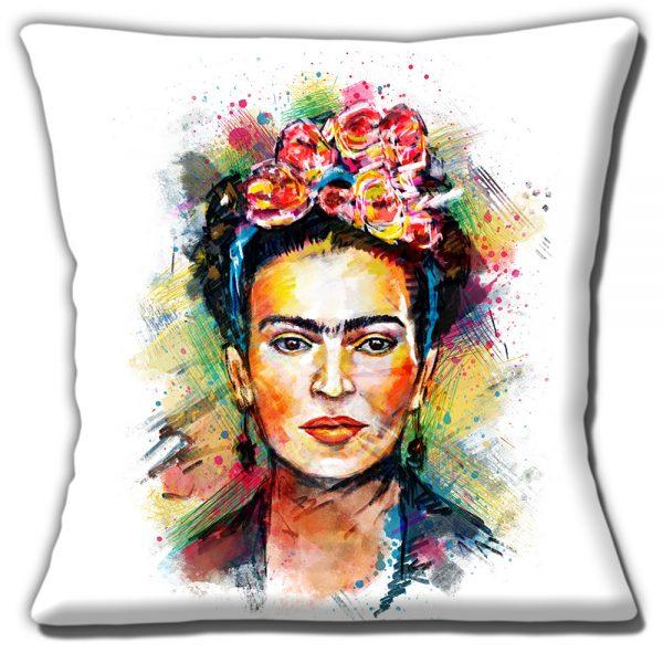 Frida Kahlo Cushion or Cushion Cover Mexican Folklore Artist White