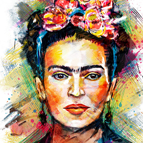 Frida Kahlo Cushion or Cushion Cover Mexican Folklore Artist White