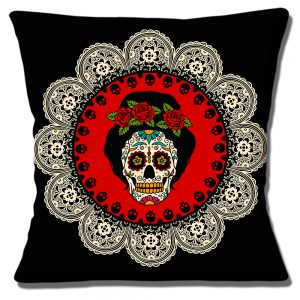 Frida Kahlo Cushion or Cushion Cover Mexican Sugar Skull Black