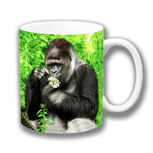 Silverback Gorilla Coffee Mug Plucking Flower Petals