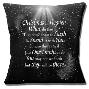 Christmas in Heaven Message Cushion or Cushion Cover Black