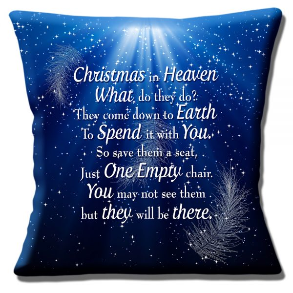 Christmas in Heaven Message Cushion or Cushion Cover Blue