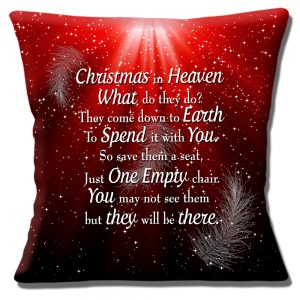 Christmas in Heaven Message Cushion or Cushion Cover Red