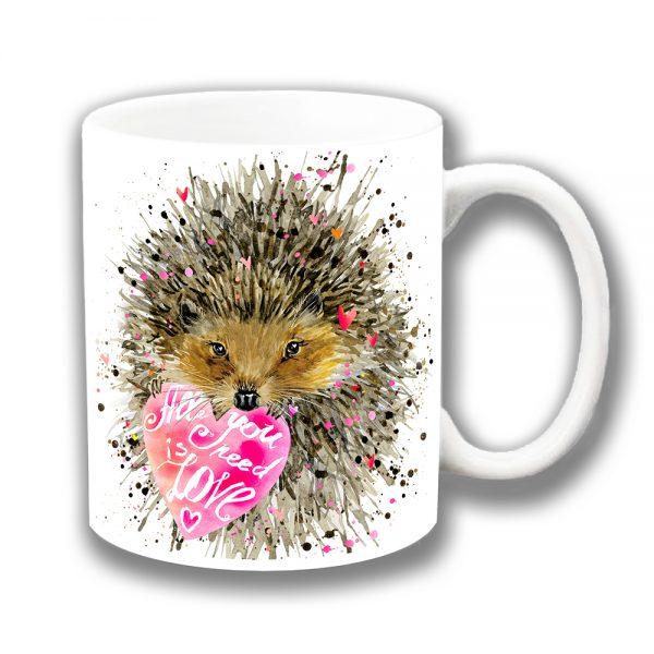 Hedgehog Coffee Mug All You Need is Love Artistic Modern