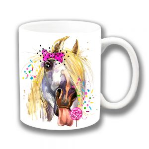 Horse Coffee Mug Licking Lollipop Artistic Modern White