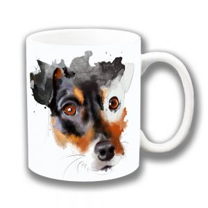 Jack Russell Dog Coffee Mug Black Tan Artistic Modern
