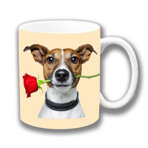Jack Russell Dog Coffee Mug Tan White Red Rose Cream