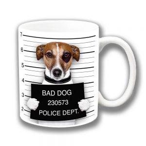Jack Russell Coffee Mug Funny Bad Dog Jail Mug Shot