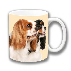 King Charles Spaniels Coffee Mug Two Cavalier Ceramic
