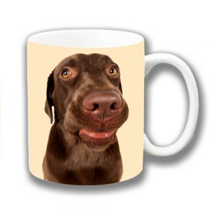 Chocolate Labrador Dog Coffee Mug Funny Face Cream