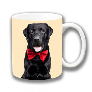 Black Labrador Dog Coffee Mug Red Bow Tie Cream
