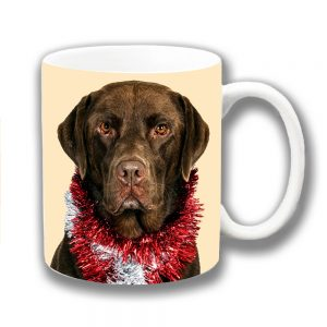 Chocolate Labrador Dog Coffee Mug Christmas Tinsel