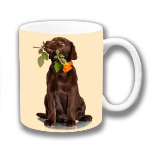 Chocolate Labrador Puppy Dog Coffee Mug Orange Rose