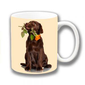 Chocolate Labrador Puppy Dog Coffee Mug Orange Rose