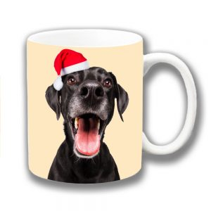 Black Labrador Dog Coffee Mug Christmas Santa Hat
