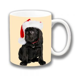 Labrador Dog Coffee Mug Black Puppy Christmas Santa Hat