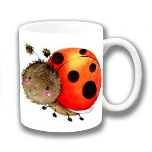 Ladybird Coffee Mug Cartoon Smiling Black Red White