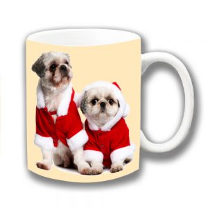 Lhaso Apso Dogs Coffee Mug Christmas Santa Coats