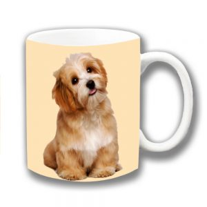 Lhaso Apso Dog Coffee Mug Cute Fluffy Dog Cream