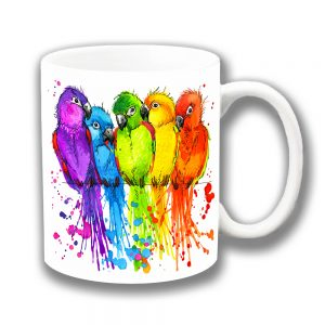 Lovebirds Coffee Mug Bright Colours Artistic Modern