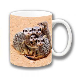 Meerkats Coffee Mug Wild Animals Family Cuddling