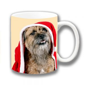Border Terrier Dog Coffee Mug Christmas Santa Coat Hat