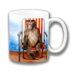 Funny Monkey Coffee Mug Beach Sunglasses Striped Chair