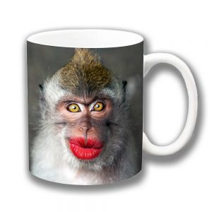 Funny Monkey Coffee Mug Pouting Red Lips Ceramic