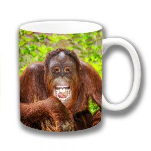 Funny Orangutan Coffee Mug Wild Animal Smiling