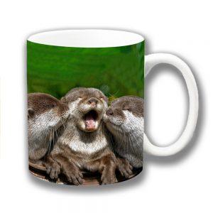 Three Wild Otters Coffee Mug Animals Cuddling Ceramic