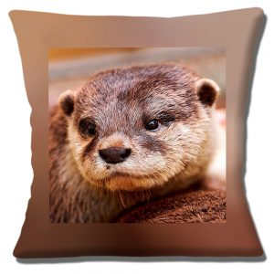 Otter Cushion or Cushion Cover Wild Animal Brown