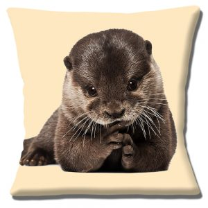 Otter Cub Cushion or Cushion Cover Cute Wild Animal Cream