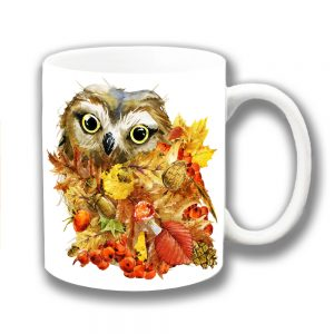 Owl Coffee Mug Autumn Leaves Artistic Modern Ceramic