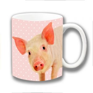 Pig Coffee Mug Cute Farm Animal Pink Polka Dot Ceramic