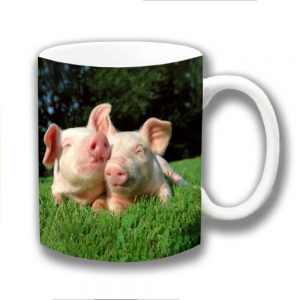 Two Piglets Coffee Mug Cute Farm Animals Outdoor Ceramic