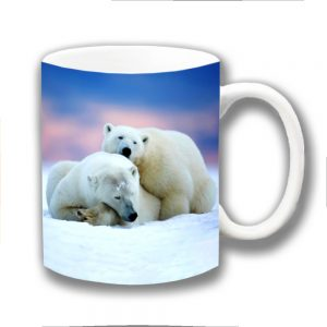 Polar Bears Coffee Mug Two Bears Cuddling Sleeping
