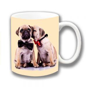 Pug Dogs Coffee Mug Two Fawn Pug Puppies Bow Ties Whispering