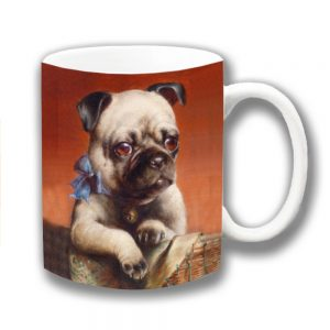Pug Dog Coffee Mug Fawn Dog Carl Reichert Blue Ribbon