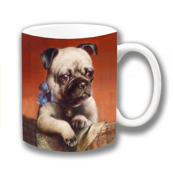 Pug Dog Coffee Mug Fawn Dog Carl Reichert Blue Ribbon