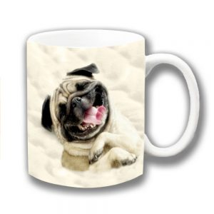 Pug Dog Coffee Mug Fawn Dog Sleeping Duvet Ceramic