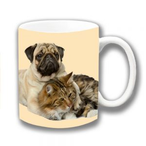 Pug Dog Coffee Mug Fawn Dog Cuddling Tabby Cat Ceramic