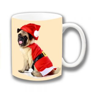 Pug Dog Coffee Mug Fawn Christmas Santa Coat Hat