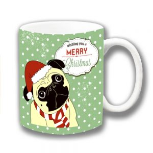 Pug Dog Coffee Mug Merry Christmas Cartoon Polka Dot