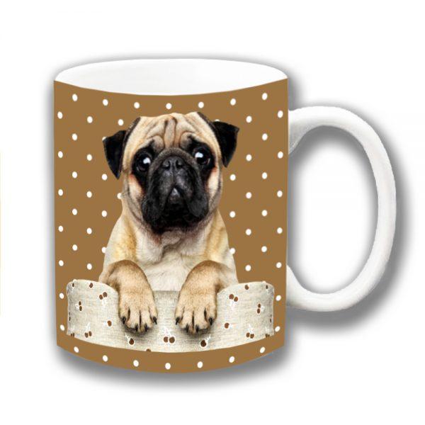Pug Dog Coffee Mug Fawn Dog Sofa Brown Polka Dot